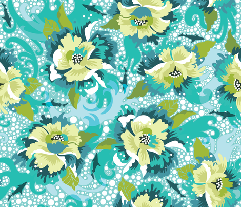 Surfin' Peonies fabric by cynthiafrenette on Spoonflower - custom fabric