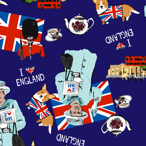 I <3 England fabric by sheena_hisiro on Spoonflower - custom fabric