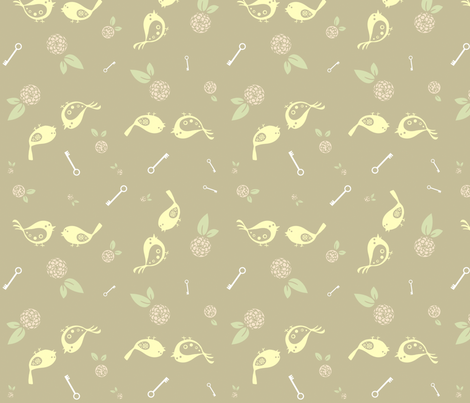 Birds on beige fabric by sheena_hisiro on Spoonflower - custom fabric