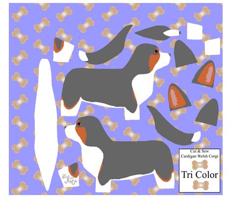 ©2012 Cut & Sew large Cardigan Welsh Corgi - Tri fabric by rusticcorgi on Spoonflower - custom fabric