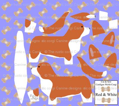 ©2012 Cut & Sew large Cardigan Welsh Corgi - Red/White