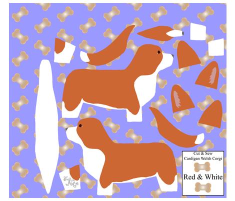 ©2012 Cut & Sew large Cardigan Welsh Corgi - Red/White fabric by rusticcorgi on Spoonflower - custom fabric