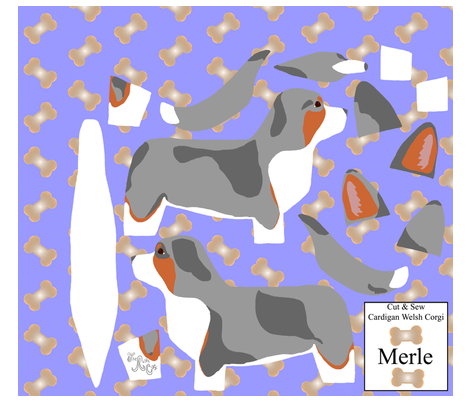 ©2012 Cut & Sew large Cardigan Welsh Corgi - Merle fabric by rusticcorgi on Spoonflower - custom fabric