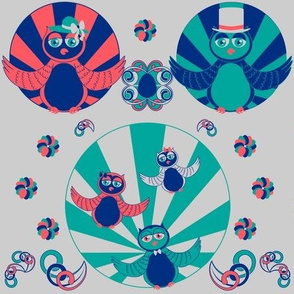 Art Deco Owls