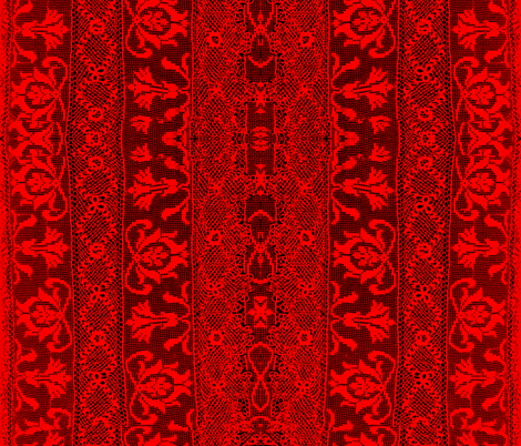 Antique Irish Crochet Lace painted red fabric by whimzwhirled on Spoonflower - custom fabric