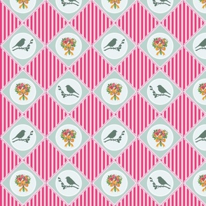 Flower and bird quilt (Pink and green)