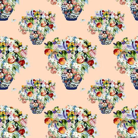 Elizabeth Wu's Flowers on Creamsicle fabric by karenharveycox on Spoonflower - custom fabric