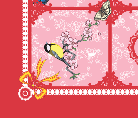 Birds and butterfly tea towel (Pink and Red) fabric by nimochka on Spoonflower - custom fabric