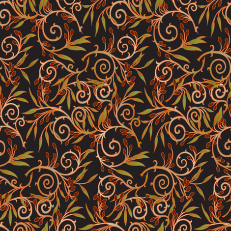 olive branch-Black background fabric by julistyle on Spoonflower - custom fabric