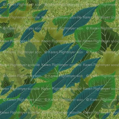 leaves - green & blue