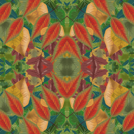 autumn leaves - Christmas colors fabric by krs_expressions on Spoonflower - custom fabric