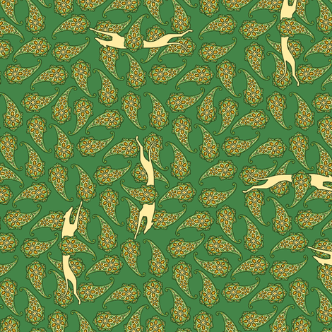 Green Paisley Overall with Greyhounds fabric by artbyjanewalker on Spoonflower - custom fabric