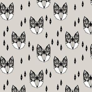 fox head // light grey fox head geometric design boys kids fox head fabric fox head quilt cute fox design original andrea lauren fabric