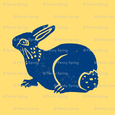 cute bunny blue on yellow