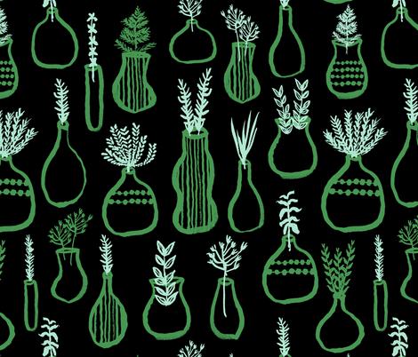 Herb Garden - // green and mint herbs kitchen garden cute plants pots fabric by andrea_lauren on Spoonflower - custom fabric