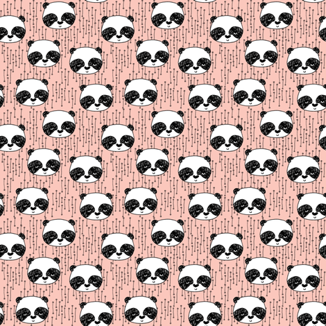 panda // pink mini panda heads cute illustration for girls baby nursery sweet panda illustration by andrea lauren  fabric by andrea_lauren on Spoonflower - custom fabric