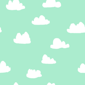 clouds // pistachio pastel green girly print for little girls and baby girls nursery decor and textiles