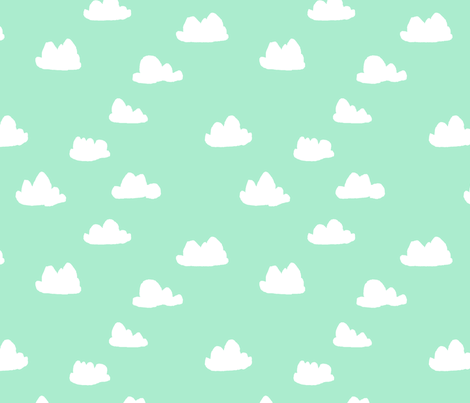 clouds // pistachio pastel green girly print for little girls and baby girls nursery decor and textiles fabric by andrea_lauren on Spoonflower - custom fabric