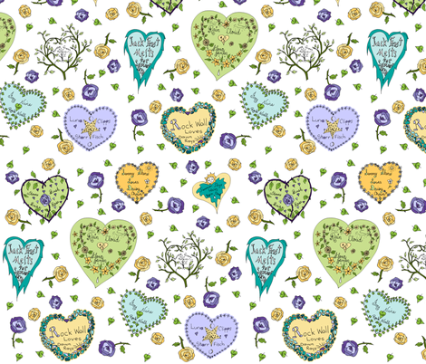 Art Thou Mine? (Girly Graffiti Hearts Valentine Notes) fabric by rhondadesigns on Spoonflower - custom fabric