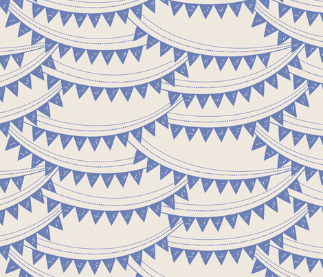 Bunting_banner_BLUE fabric by natasha_k_ on Spoonflower - custom fabric