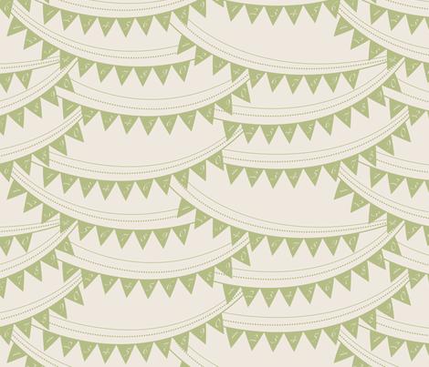 Bunting_banner_GREEN fabric by natasha_k_ on Spoonflower - custom fabric