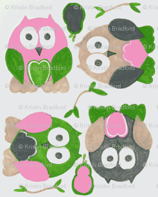 Short Legged Owls in Pink