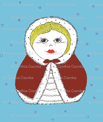 Snowy Day Matryoshka Doll in red