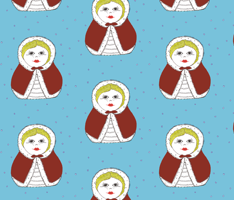 Snowy Day Matryoshka Doll in red fabric by scoutmom131 on Spoonflower - custom fabric