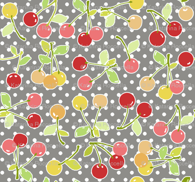 cherry dot grey