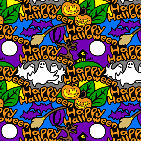 Happy Halloween (Graffiti Style) fabric by taracrowleythewyrd on Spoonflower - custom fabric