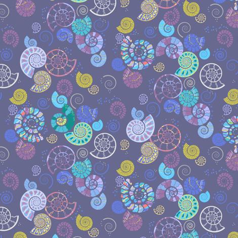 Ammonite ditsy grey fabric by coggon_(roz_robinson) on Spoonflower - custom fabric