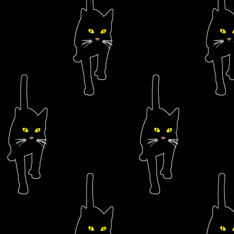 Black Cat 2, L fabric by animotaxis on Spoonflower - custom fabric