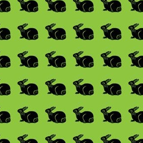 cute bunny black on bright green