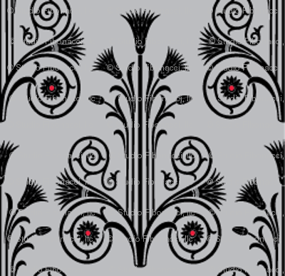 Lotus Damask - Black/Gray