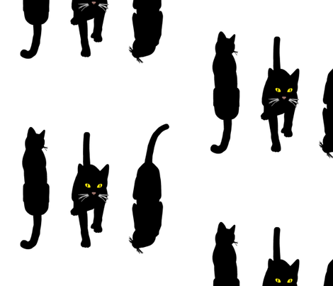 Black Cats 5, L fabric by animotaxis on Spoonflower - custom fabric
