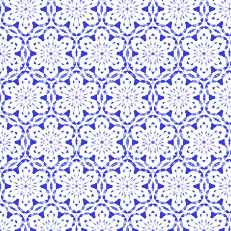 Snowflake Lace   -white on blue   -XL fabric by fireflower on Spoonflower - custom fabric