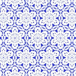 Snowflake Lace   -white on blue   -XL