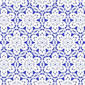 Snowflake Lace   -white on blue   -XL