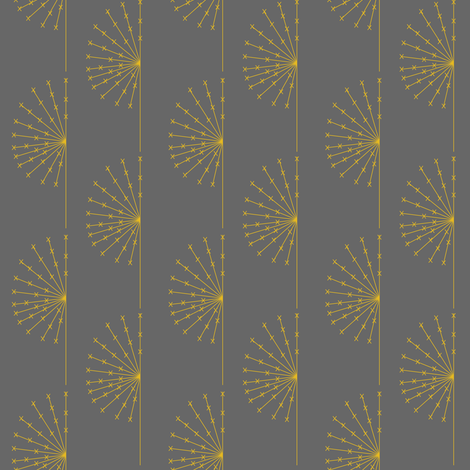 Dandelion on grey fabric by sary on Spoonflower - custom fabric