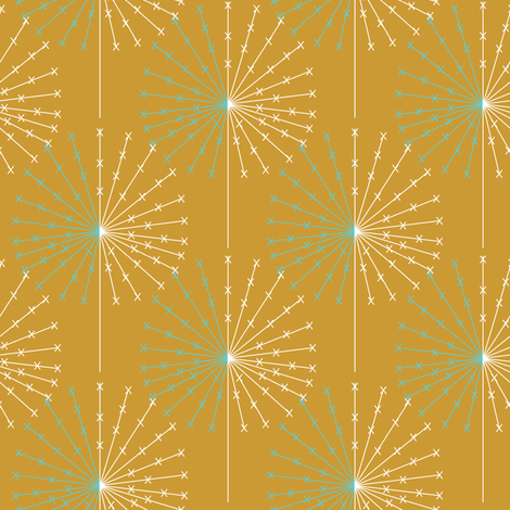 Dandelion on orange fabric by sary on Spoonflower - custom fabric