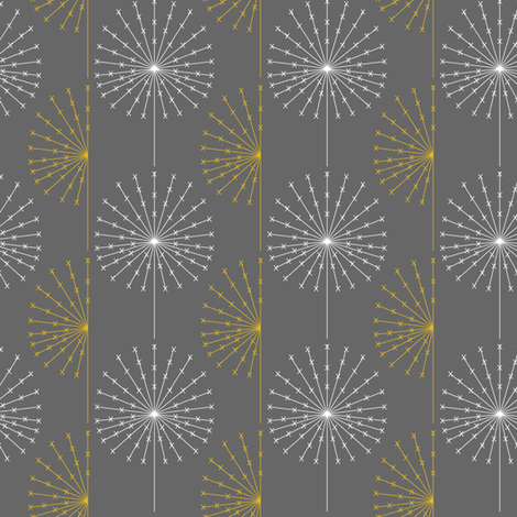 Dandelion on grey2 fabric by sary on Spoonflower - custom fabric
