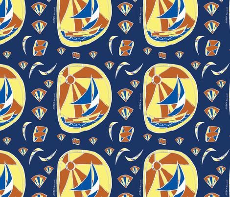 Art deco sailboat fabric by nicolaclare on Spoonflower - custom fabric