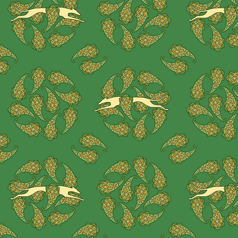Green Paisley Circles with Greyhounds  ©2012 by Jane Walker fabric by artbyjanewalker on Spoonflower - custom fabric