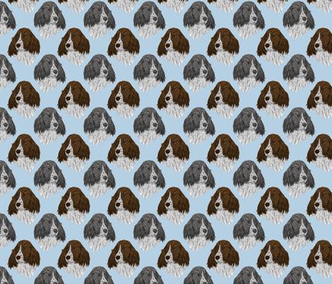 English Springer Spaniel faces - blue fabric by rusticcorgi on Spoonflower - custom fabric