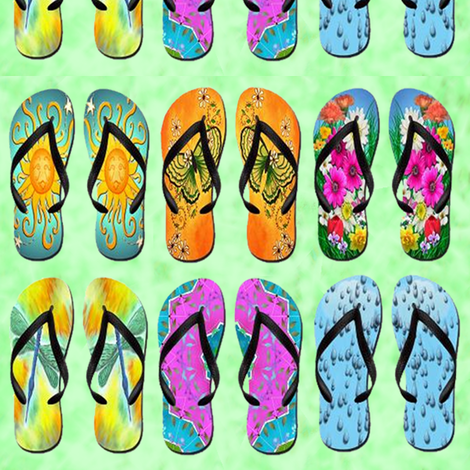 tropical flip flops fabric by krs_expressions on Spoonflower - custom fabric