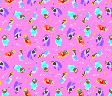 Kawaii Purim on Pink fabric by pkfridley on Spoonflower - custom fabric