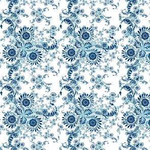Floral Doodle Blue and White