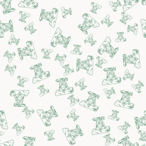 Vintage camera -green fabric by rachml on Spoonflower - custom fabric