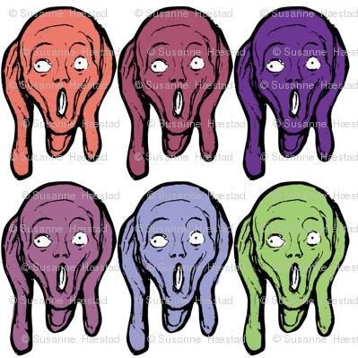 multi coloured screams on white background