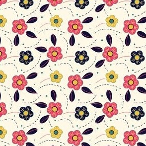 Pink Yellow and Blue Folksy Flower
